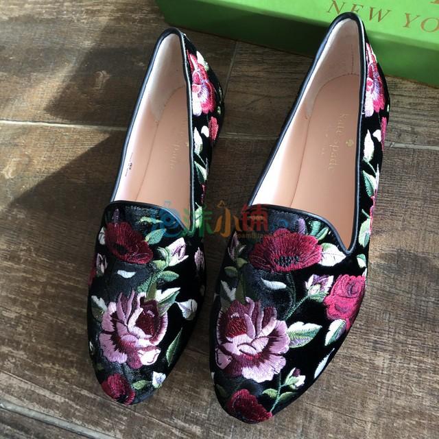 美代真皮KateSpadeNewYorkSwinton正品绣花平底薄跟瓢鞋
