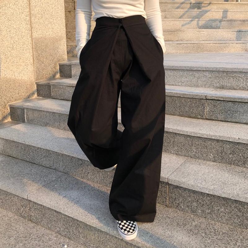 Корея ins осень и зима ретро дизайн смысл талия прямо торможение земля брюки свободный дикий случайный широкий брюки брюки женщина 607626858342