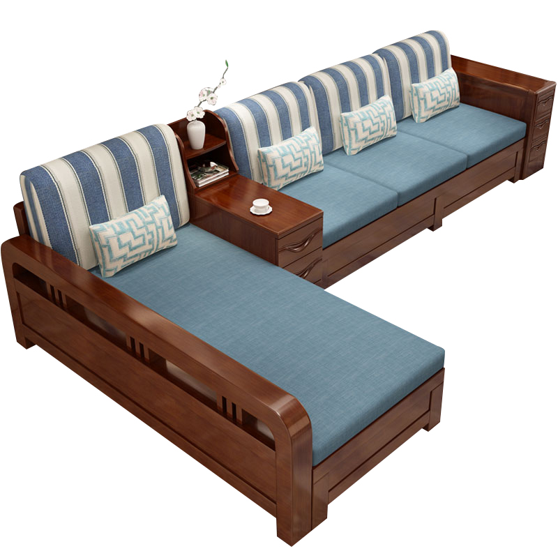 Solid wood sofa combination winter and summer dual-use fabric corner chaise  multifunctional storage new Chinese modern wooden furniture
