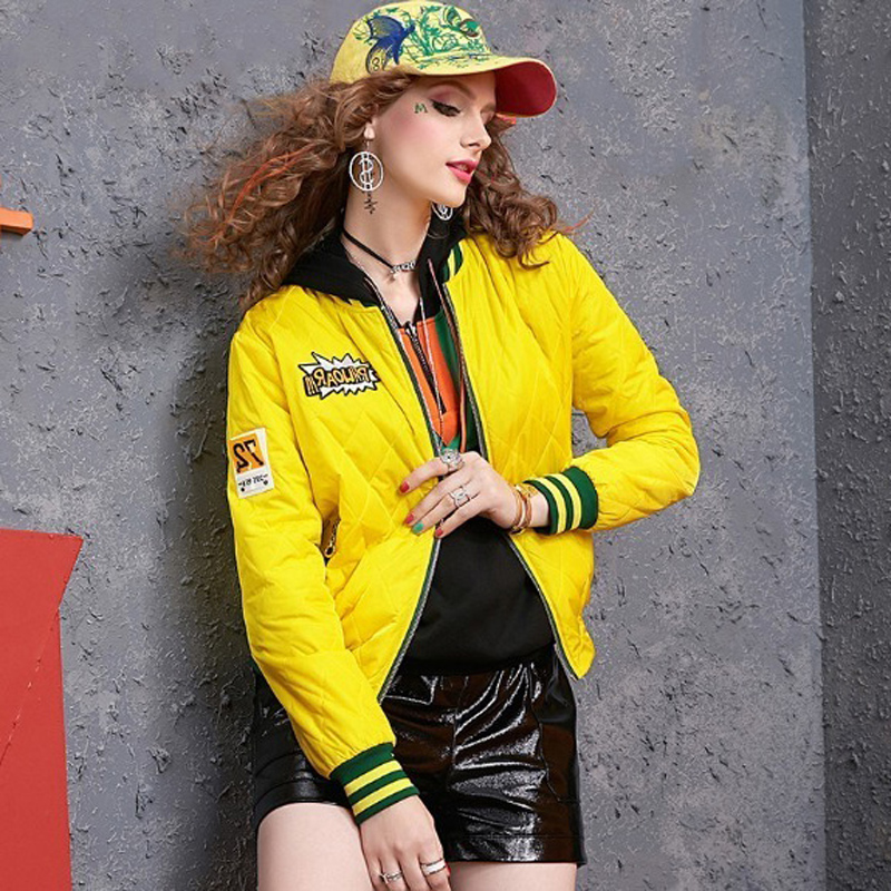Autumn and winter long-sleeved short coat women's European station 2020 new color-collage baseball uniform hundred tie collar clip cotton clothing tide 13 Online shopping Bangladesh