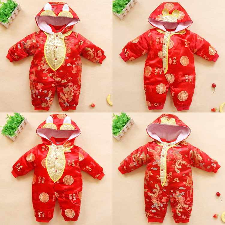Baby clothes one-piece clothes spring and autumn men and women baby Tang  suit winter da5d54fa18