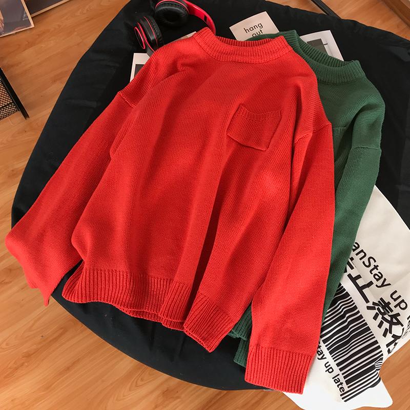 Màu thuần hoang dã 2020 xuân mới nam cổ tròn áo thun áo len giản dị thời trang áo len thủy triều B17 - Hàng dệt kim
