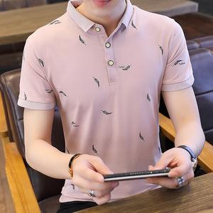 紫色 現貨95棉 男式T恤短袖翻領修身韓版青少年有領棉T恤印...
