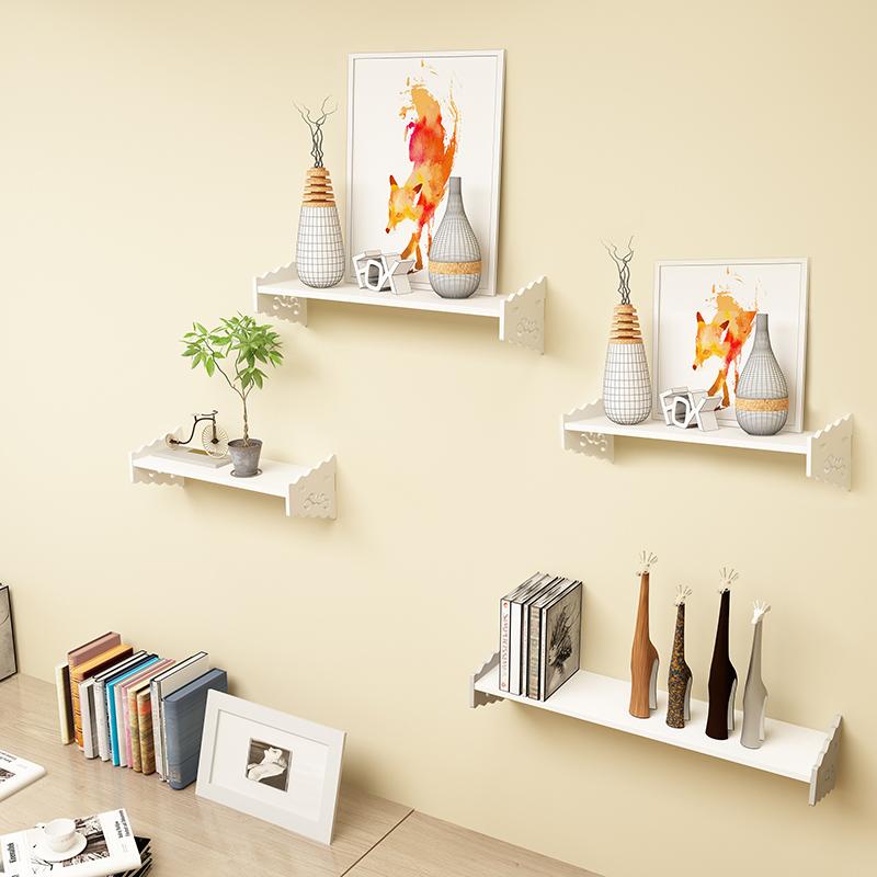 免装饰墙上置物架壁挂书架隔板打孔花架子电视墙搁板一字卧室客厅
