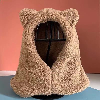 小熊护耳朵帽子女�缜锒�季出行可爱冬天毛绒围巾连帽一体韩版百①搭