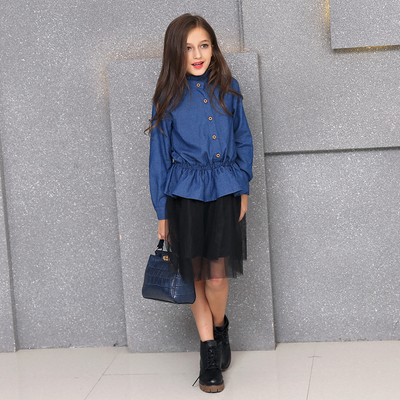 Large girls wear Korean version of the fake two-piece dress denim skirt long-sleeved denim shirt skirt stitching mesh dress
