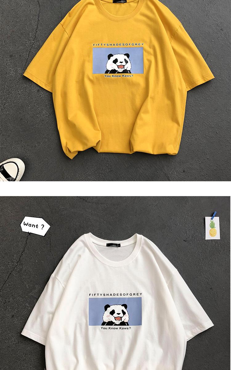 主推款 纯棉夏季港风情侣卡通印花短袖文艺男女宽松T恤TX625-P30