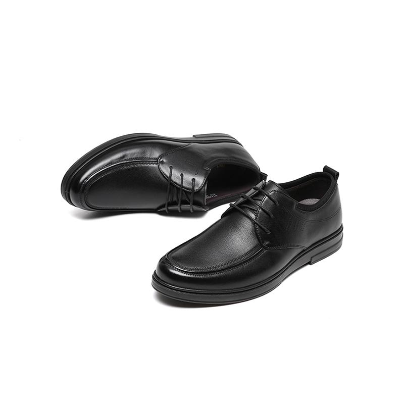 红蜻蜓男鞋春秋新款商务休闲皮鞋透气软底英伦系带百搭男士皮鞋y