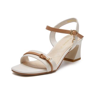 红蜻蜓女鞋2021年夏季新款一字带凉鞋女粗跟百搭法式小香风高跟鞋