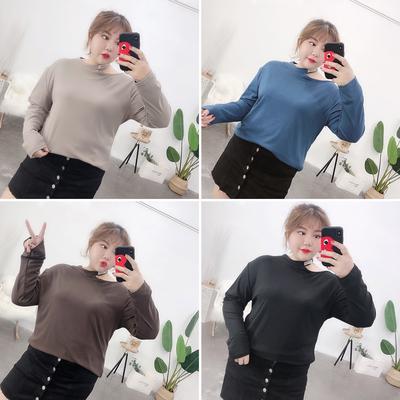 宛宛大码女装200斤胖MM春装露肩显瘦打底长袖上衣2019新款胖妹妹