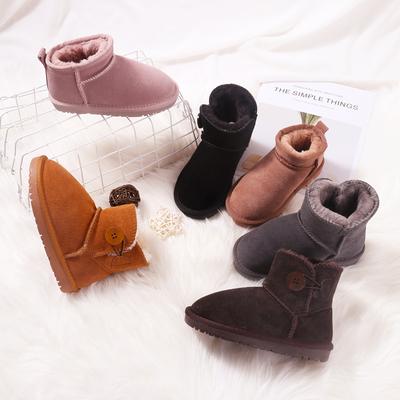 儿童雪地靴女童冬鞋皮毛一体靴子男童雪地棉靴宝宝真皮加绒厚棉靴