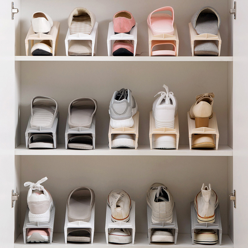 Double Layer Shoe Storage Rack Home Plastic Simple Shoes Save Space Shoes  Bracket Adjustable Living Room Storage Shoe Rack