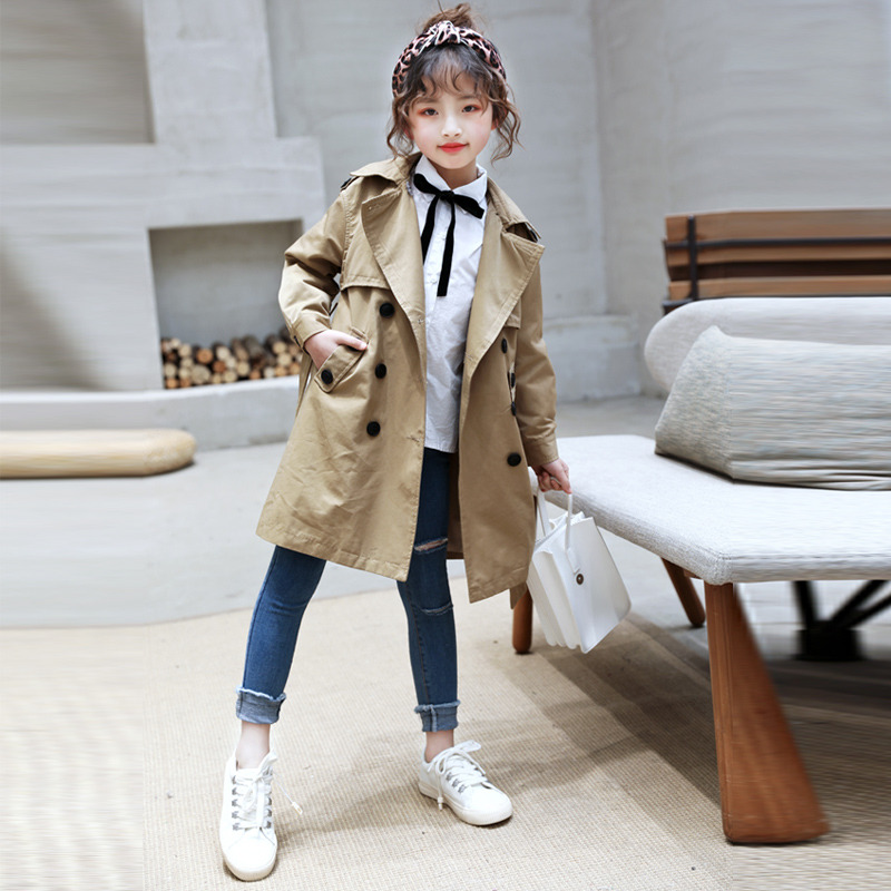 Girls trench coat in the long section of the new 2019 autumn Korean version of the foreign gas coat children's long section of fashionable women's coat