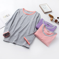 Autumn clothes pajamas women's long-sleeved spring and autumn tops one-piece pure cotton round neck loose large size cotton spring thin home service