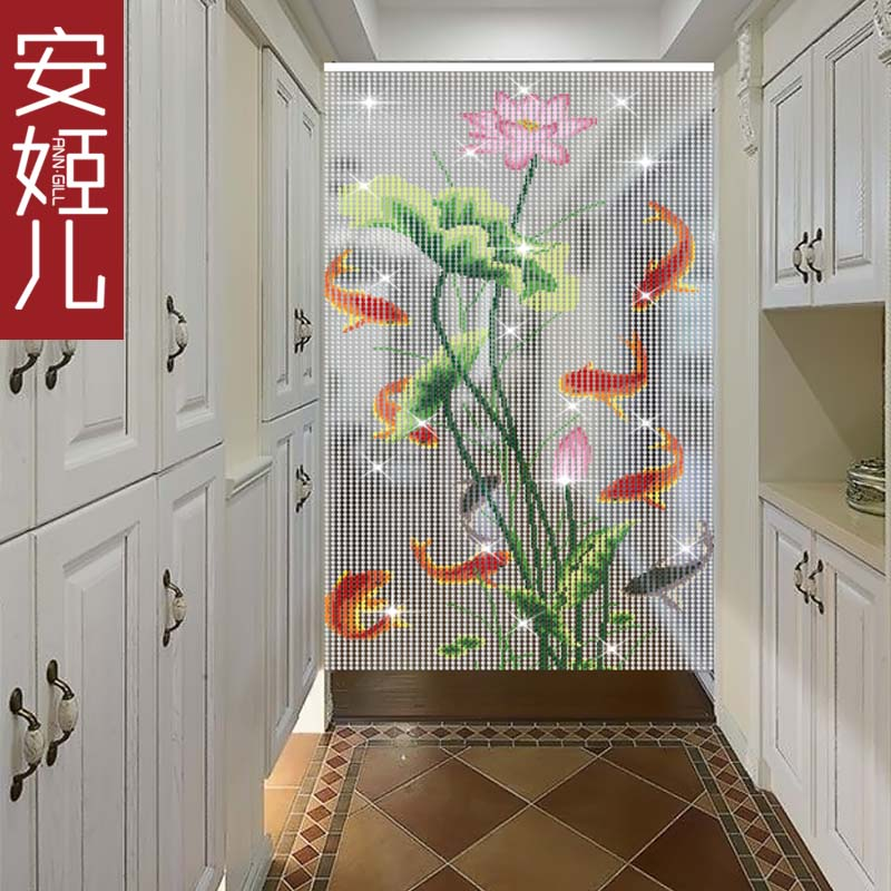 USD 4848] Angie Crystal Painting Curtain Nine Fish Lotus Crystal Gorgeous Bathrooms Partitions Painting