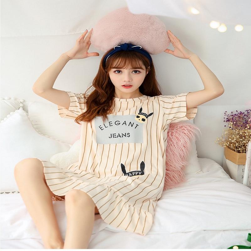 夏短袖纯棉薄款可爱连衣裙睡裙
