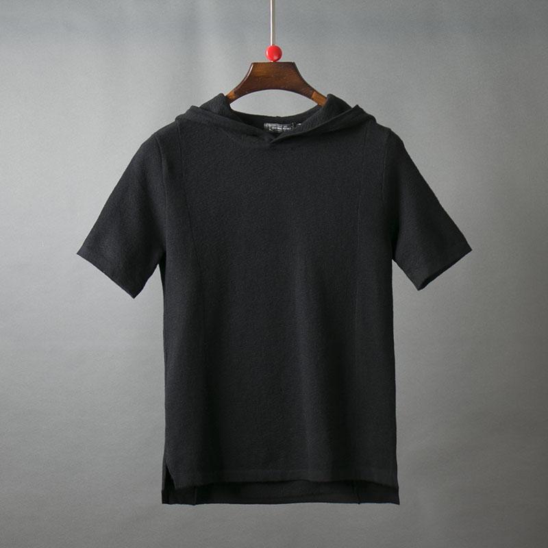 弹力男士针织衫2019新款韩版百搭纯色修身短袖连帽男装半袖潮3030