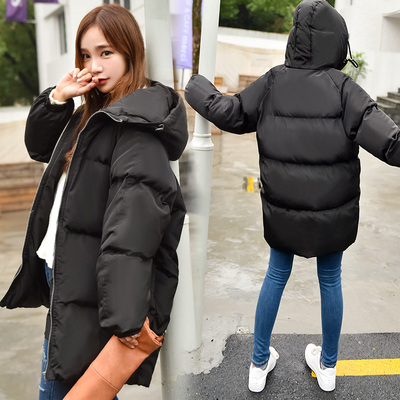 Jacket female 2017 new long-sleeved cotton quarter-length women's Slim Korean down cotton hooded plus size women's tide