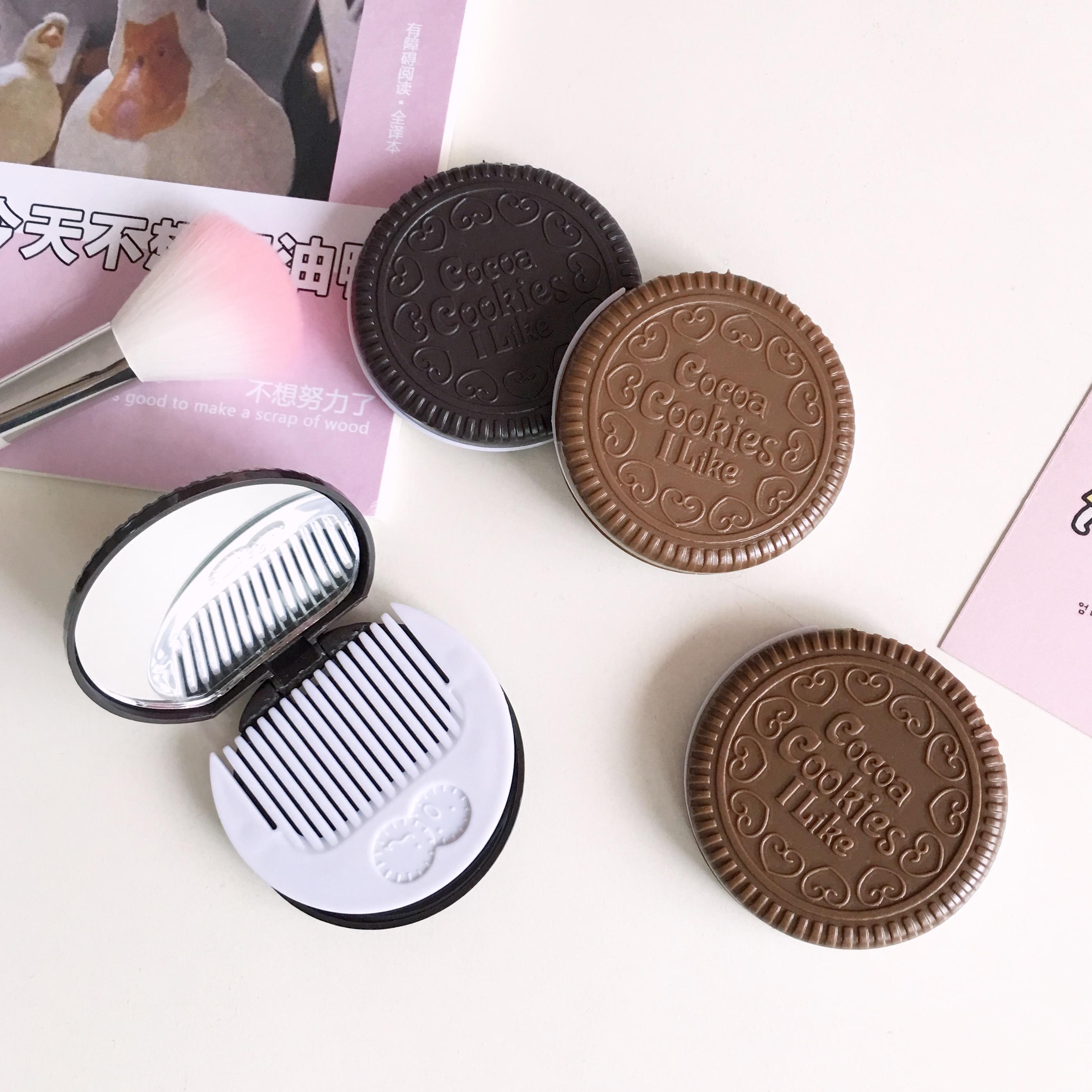ins随身镜子可折叠奥利奥巧克力饼干仿真镜子创意便携迷你化妆镜