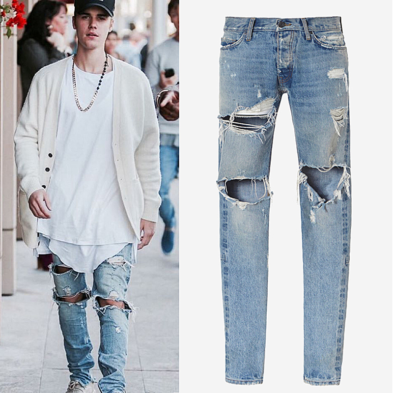 2ea57514b1d High street Tide men washed knees zipper big hole jeans Bieber with the  same paragraph slim small feet Jeans beggars pants