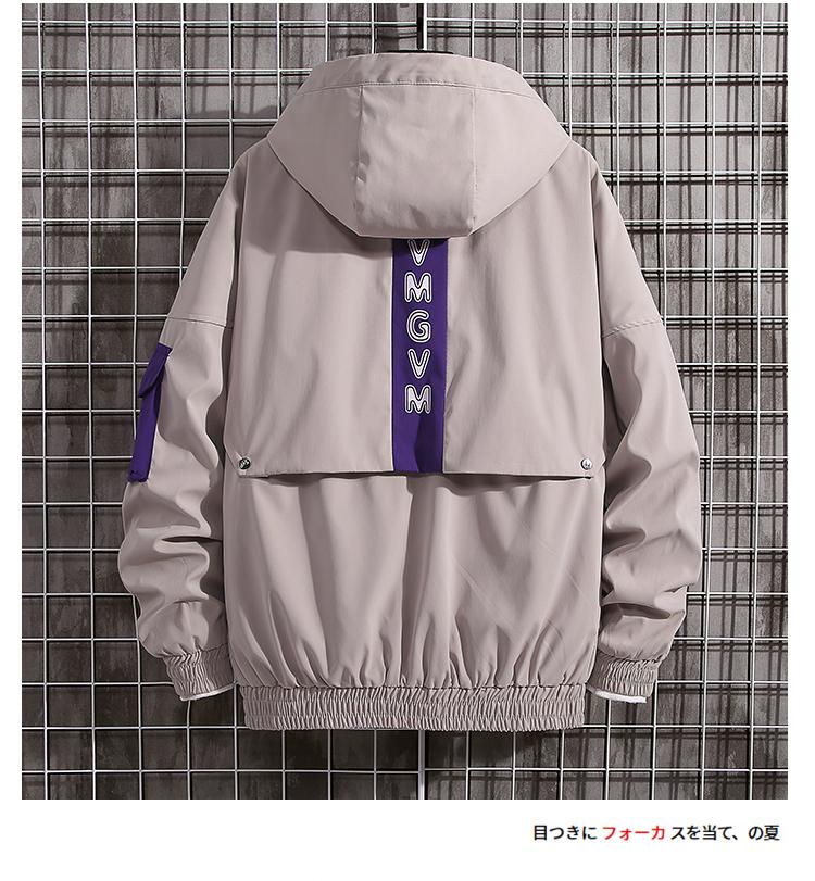 日系秋季外套男韩版潮流休闲潮牌连帽夹克黑白网格7126特P60控88