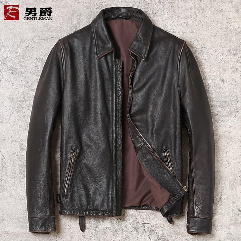 欧美真皮外套中年重磅皮衣v欧美头层黄牛皮翻领男士简约做旧皮夹克