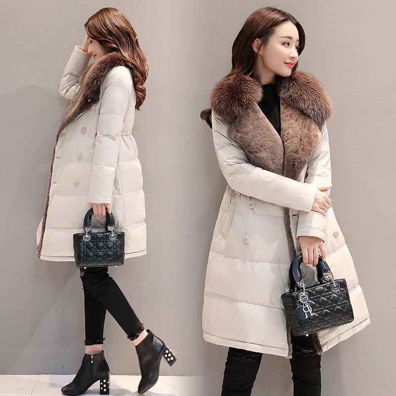 反季清仓羽绒中长款外套女修身加绒双排扣特价棉袄小个子棉衣加厚