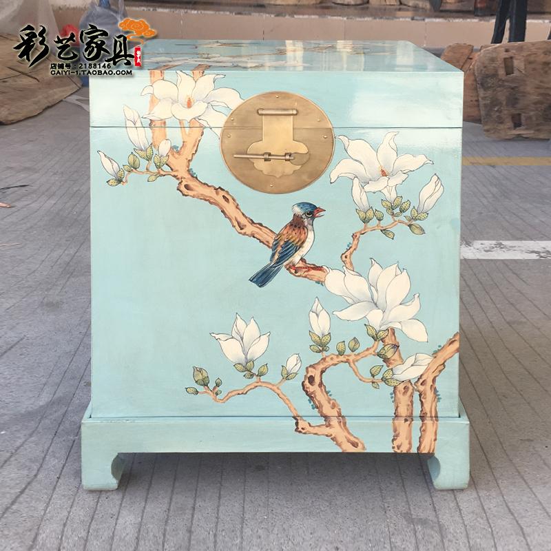 Toon hộp gỗ đầu giường bàn sofa bên bàn cà phê nhỏ bàn bên Trung Quốc mục vụ sơn lưu trữ tủ thư pháp hộp - Cái hộp