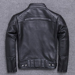 Men motorcycle clothing leather leather short vertical section leading men riding cowhide leather jacket winter coat large size