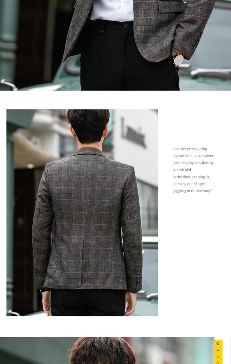 韩版小西服男休闲青年修身单西外套格子小西装224-9866-p100