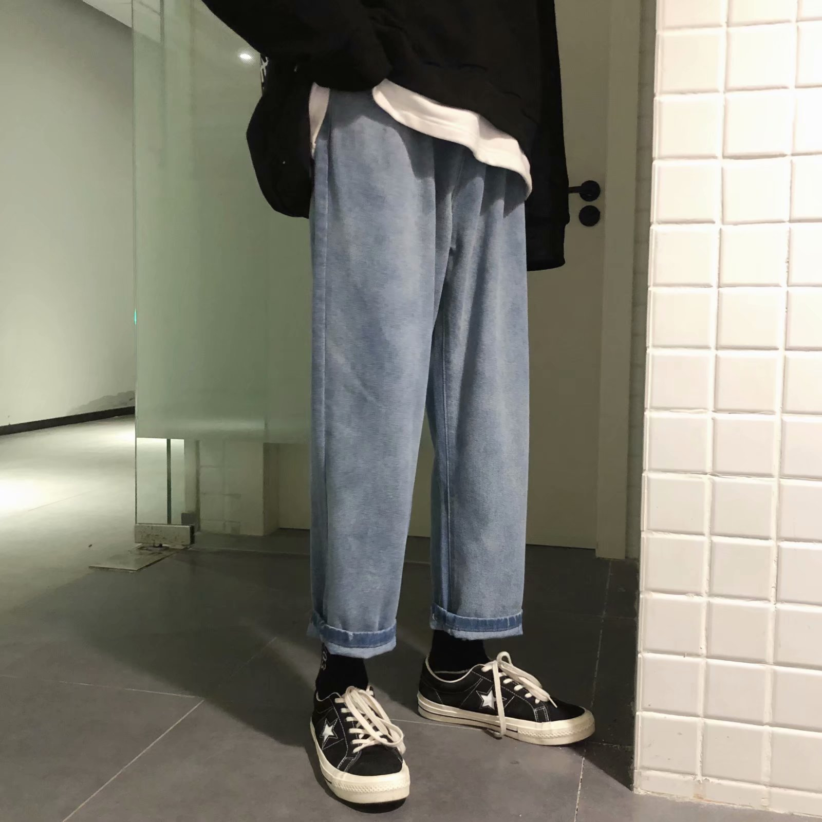 ins ultra-fire nine-point jeans men's harbor wind loose fall sense broad leg pants straight hip-hop student daddy pants