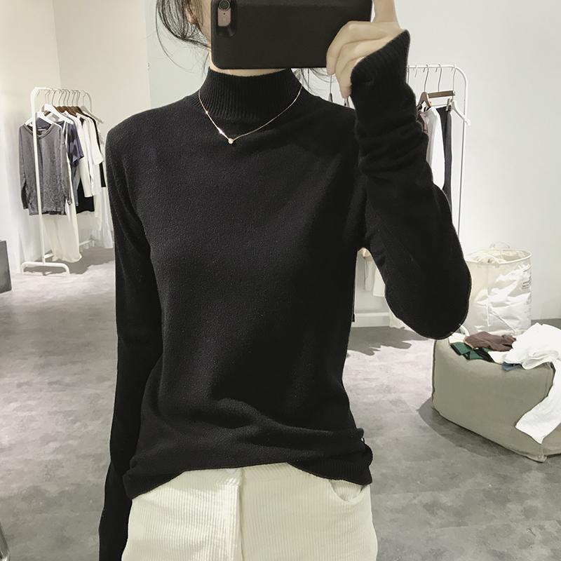 半高领针织衫女秋冬季修身显瘦韩国帖色基础简约纯色打底衫毛衣