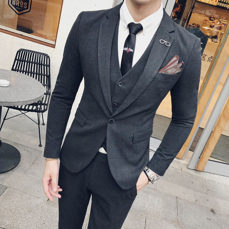 DARK GRAY  SUIT + PANTS + VEST  TO SEND A TIE