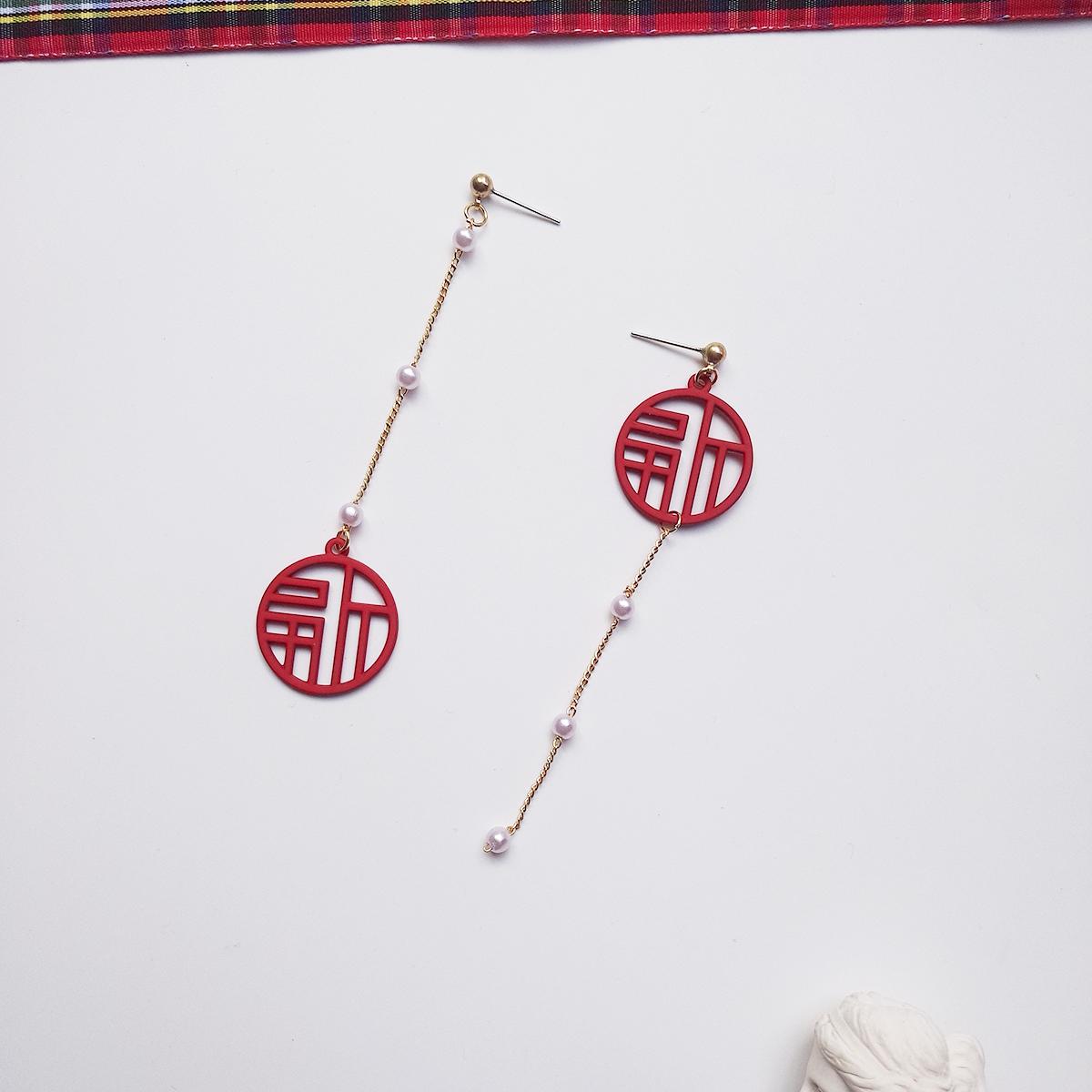 原创新年红色福字防过敏耳针女珍珠长版圆形耳环本命年无耳洞耳夹详细照片