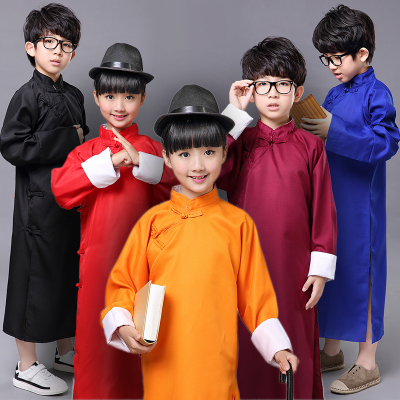 Children's crosstalk costume mandarin jacket crosstalk jacket long gown of the Republic of China kids tai chi robe