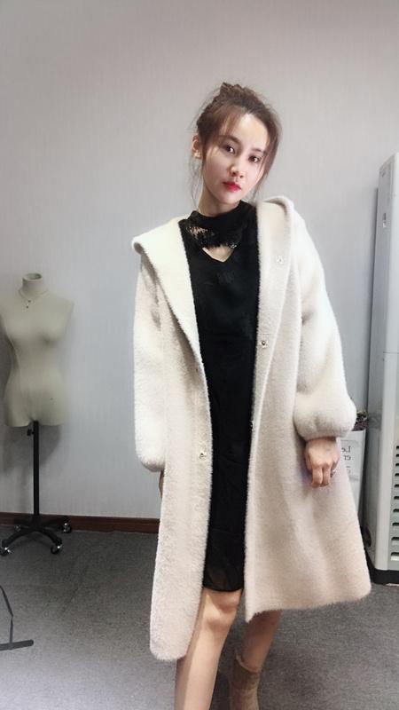 OXD phụ nữ gốc áo khoác áo khoác nữ dài phần 2017 new casual hem chia ngã ba áo len cardigan