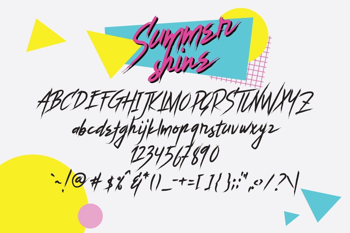 时尚手绘手写Summer Shine英文字体设计素材模板