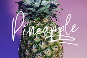 菠萝凤梨手写字体模板 Pineapple scxript Font