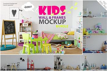 小孩房间设计样机和素材包 Kids Interior Wall & frxames Mockup