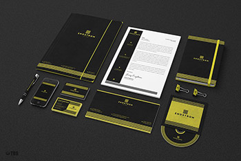 黄绿色的企业VI模板 Black Yellow Corporate Identity PSD