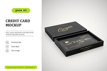 信用卡银行卡会员卡VIP卡和包装盒子包装样机展示模型mockups
