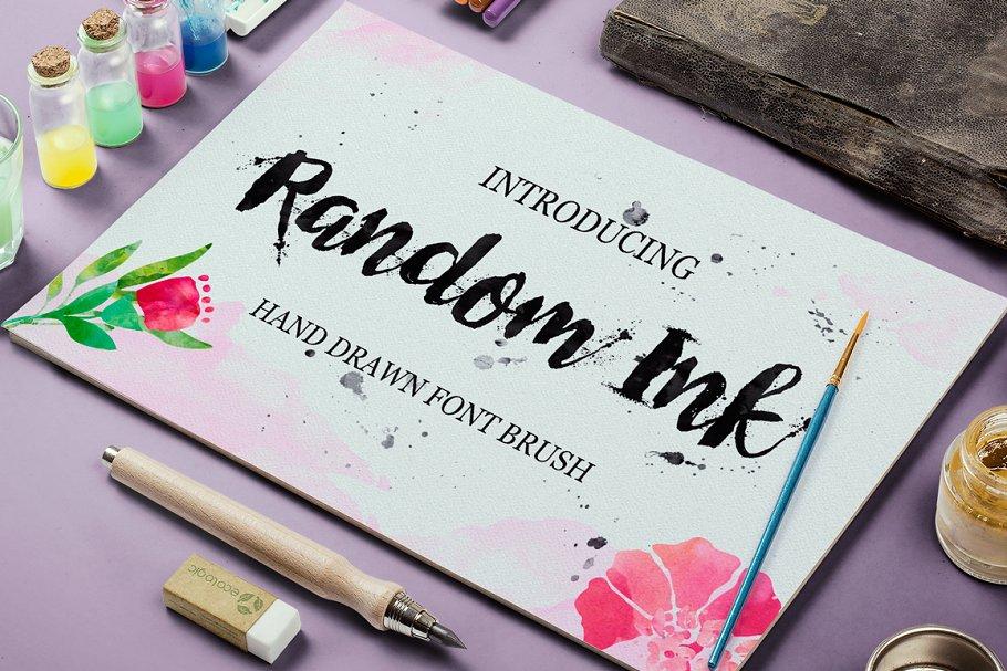 手绘墨水感觉的字体 Random Ink设计素材模板