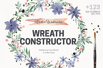 水彩矢量花圈素材 Watercolor Vector Wreath Constructor