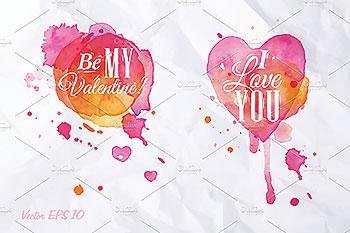 水彩飞溅手绘爱心素材 Watercolor Heart