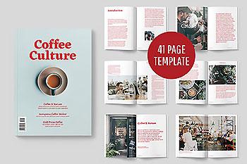 讲述咖啡历史的文艺杂志&画册模版[indd]