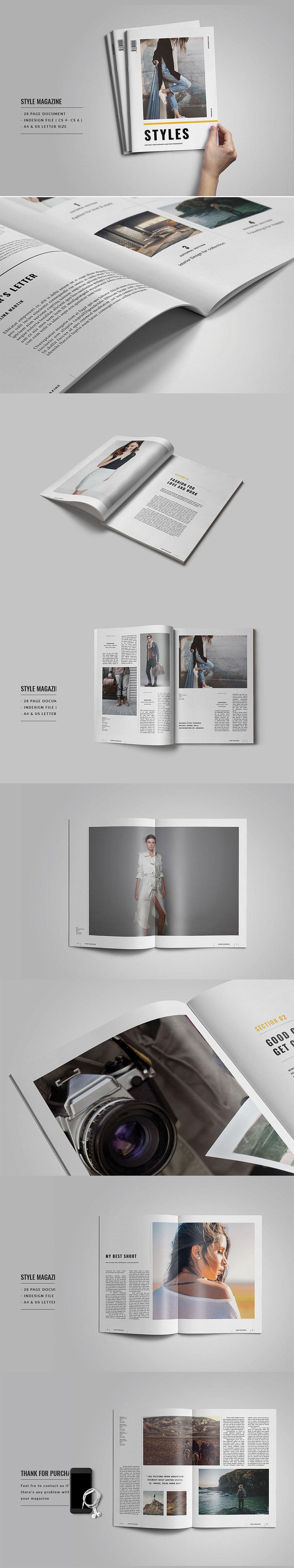 时尚简约的服饰杂志画册模板下载设计素材模板