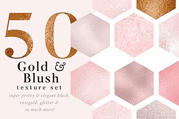 金色腮红金箔纸背景纹理图片素材 Gold Blush & Pink Textures