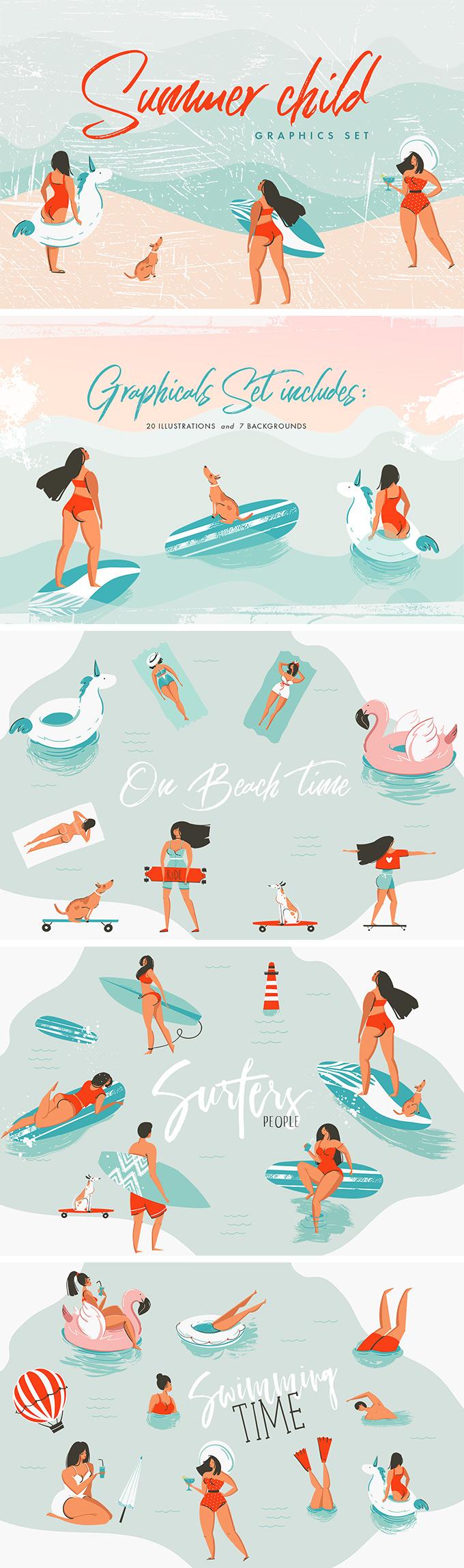 夏季沙滩阳光海洋美女游泳火烈鸟手绘素材设计素材模板
