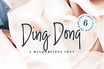 流畅的手绘字体 Ding Dong Handwritten Font + Logos