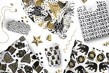 金色奢华简单的圣诞氛围矢量图形素材包[SVGAiEPS]